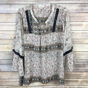 Style & Co XL Beige Brown Navy Blue Blouse